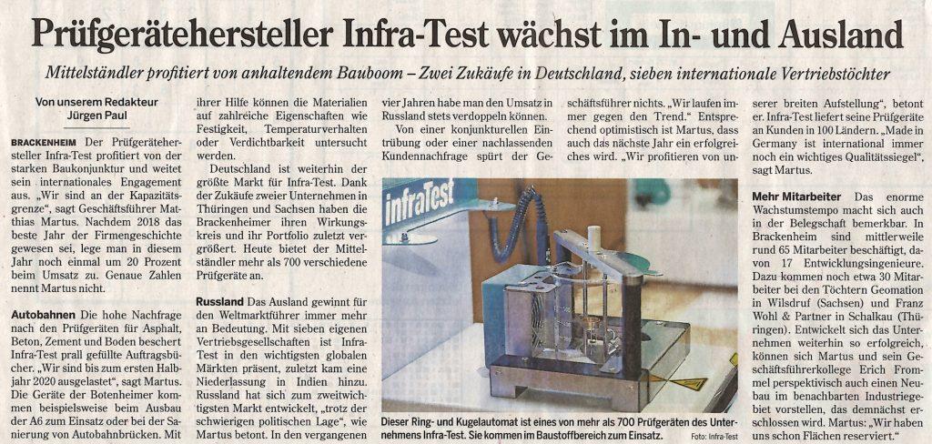infraTest Prüftechnik in der Heilbronner Stimme