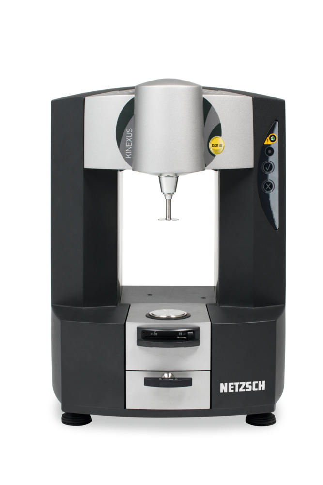 The Kinexus DSR from Netzsch - Analyzing & Testing is a rheometer platform with a unique concept for parameterization, implementation and evaluation of rheological measurements. The following standard measurements include possible with the Kinexus DSR:      Temperature sweep (T-sweep)     Multiple Stress Creep and Recovery Test (MSCRT)      Rapid bitumen typing procedure (BTSV)      Phase transition temperature of viscosity-modified binders (constant shear rate)