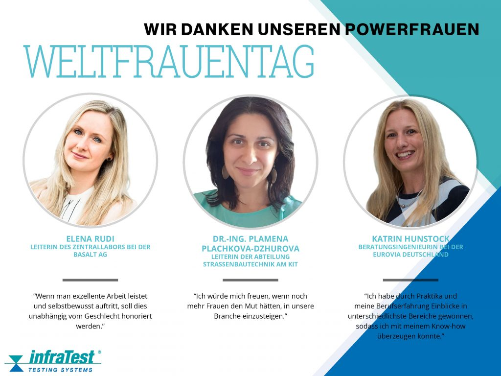 infraTest Prüftechnik sagt am Weltfrauentag danke zu den Powerfrauen in der Asphaltbranche. Es ist internationaler Frauentag!