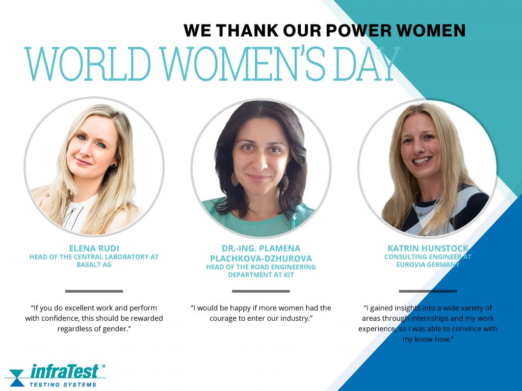 infraTest Prüftechnik says thank you to the power women in the asphalt industry on International Women's Day. It's International Women's Day!